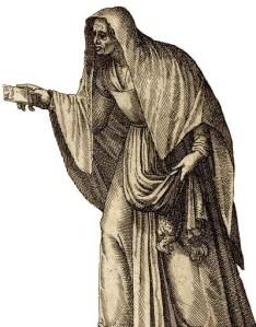 """Ruffiana venetiana [maquerelle vénitienne], in """"Recueil de costumes étrangers..."""", ancienne collection J.-J. Boissard, 1581. Bibliothèque nationale de France, OB-26-4 (folio 6, détail"""