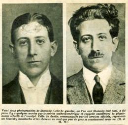 Les visages d'Alexandre Stavisky : à gauche, une photographie d'anthropométrie judiciaire où il a l'apparence sous laquelle il est le plus connu ; à droite, le visage composé pour se dissimuler et brouiller les pistes vers 1926.
