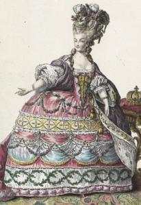 Marie-Antoinette en robe de Cour, coiffée de perles, de fleurs, d'aigrettes et d'épingles à diamants – Gravure d'un recueil intitulé « Collection d'habillement modernes et galants »