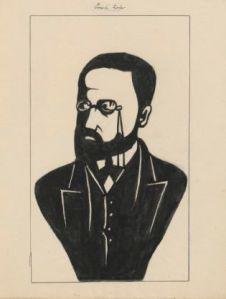 Émile Zola ; dessin ; Louis Lemercier de Neuville ; années 1890 – Source : BnF